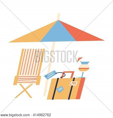 Under Umbrella On Striped Chaise Lounge, Suitcase And Cocktail. Beach Vacation And Travel. Flat Illu