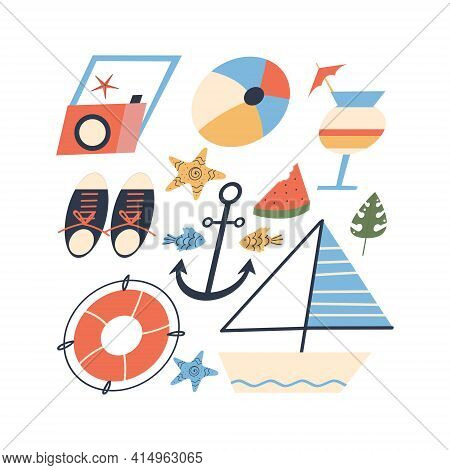 Summer Beach Accessories Set For Vacation And Seaside Vacation For Tourism. Flat Style. Vector