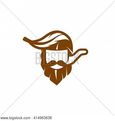 Simple And Flat Captain And Tobacco Pipe Icon. Vector Tobacco Leaf Like A Captain Head With Smoking