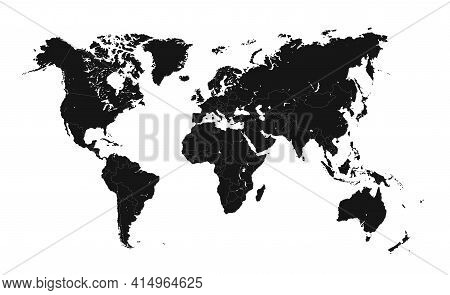 Detailed World Map With Borders Of States. Isolated World Map. Isolated On White Background. Vector