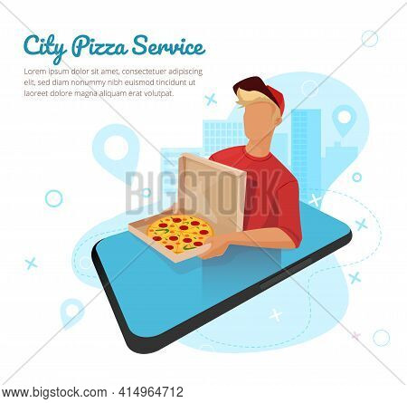 Pizza Delivery Through Via Online Store, App. The Guy Brought Pizza With Salami To The House.
