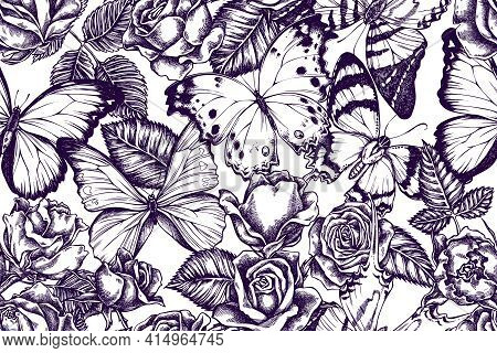 Artistic Seamless Pattern With Menelaus Blue Morpho, Giant Swordtail, Blue Morpho, Forest Mother-of-