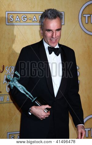 LOS ANGELES - JAN 27:  Daniel Day-Lewis pose in the press room at the 2013 Screen Actor's Guild Awards at the Shrine Auditorium on January 27, 2013 in Los Angeles, CA