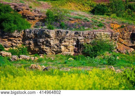 Layers Of Sedimentary Rock Outcrops, Sandstone, Silt Outcrops.