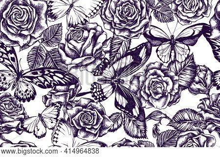 Artistic Seamless Pattern With African Giant Swallowtail, Wallaces Golden Birdwing, Jungle Queens, P