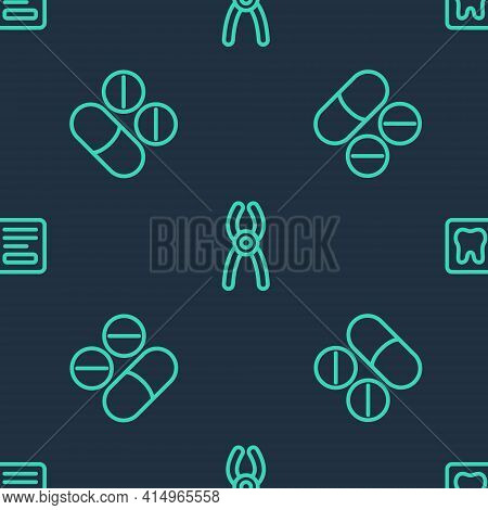 Set Line Dental Pliers, Painkiller Tablet And Card On Seamless Pattern. Vector