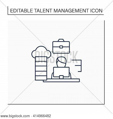 Career Path Line Icon. Workforce Development Strategy.self-improvement, Career Growth. Employee Work