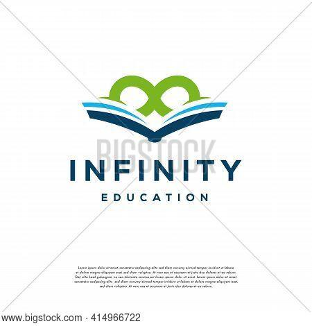 Infinity Education Logo Designs Concept Vector, Loop And Book Education Logo Designs Symbol