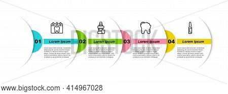 Set Line Calendar With Tooth, Mouthwash Bottle, Broken And Painkiller Tablet. Business Infographic T