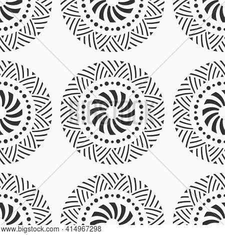 Abstract Seamless Pattern With Circle Shapes, Symbols, Dotted Circles, Striped Circles. Repeating Ge