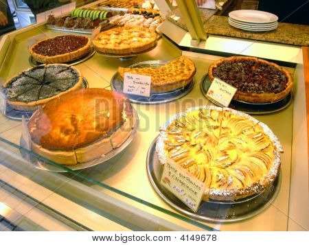 Display Of Pies In A French Bakery