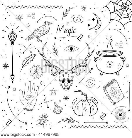 Pumpkin, Skull, Magic Book And Other Esoteric Witchcraft Elements, Vector Witch Magic, The Otherworl