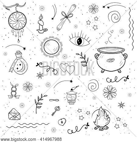 Abstract Doodle Esoteric, Magic Objects Love, Witchcraft Elements, Love Potion. Vector Witch Magic,