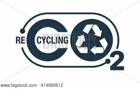 Co2 Recycling Flat Stamp. Net Zero Carbon Neutral Footprint In Bubble Shape - Carbon Emissions Free