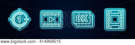 Set Line Old Film Movie Countdown Frame, Play Video, 8k Ultra Hd And . Glowing Neon Icon. Vector