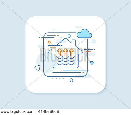 Evaporation Line Icon. Abstract Vector Button. Global Warming Sign. Waves Symbol. Evaporation Line I