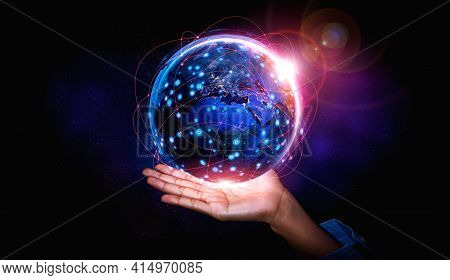Global Network Connection Covering Earth With Link Of Innovative Perception . Concept Of Internation