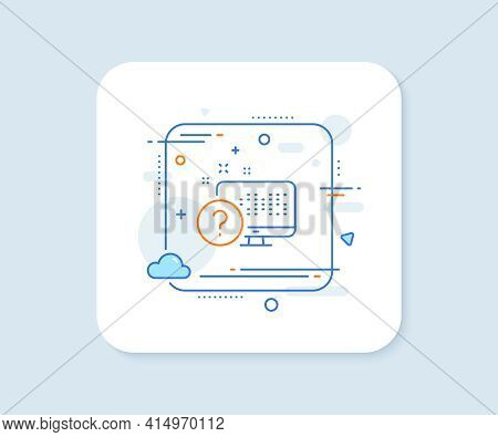 Question Mark Line Icon. Abstract Square Vector Button. Online Quiz Test Sign. Online Quiz Line Icon
