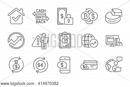 Online Payment, Money Currency And Pie Chart Line Icons Set. Bitcoin Exchange, Phone Payment And Mon