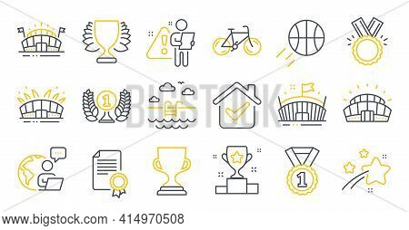 Set Of Sports Icons, Such As Sports Arena, Arena Stadium, Winner Symbols. Winner Cup, Swimming Pool,
