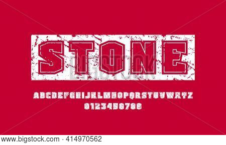 Sans Serif Font With Contour. Letters And Numbers With Rough Texture For Emblem, Logo And Title Desi
