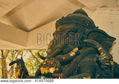 Phayao, Thailand - Dec 13, 2020: Zoom View Front Left Ganesha Statue And Incense Burner In Shrine At