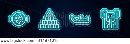 Set Line Chicken Tikka Masala, Yagna, Indian Shoes And Elephant. Glowing Neon Icon. Vector