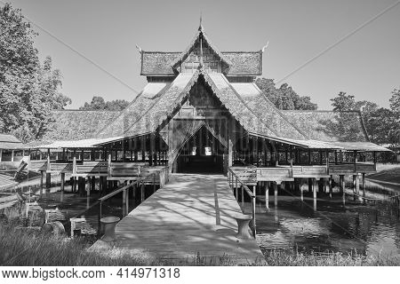 Phayao, Thailand - Dec 13, 2020: Black And White Jaturamook Sanctuary At On Blue Sky Background In W