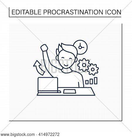 Overcome Procrastination Line Icon. Solve Work Problems. Fight Depression. Happy Person. Overload Co