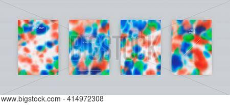 Set Of Vector Cover Templates. Blue And Red Bright Spots Hand Painted Psychedelic Tie Dye Blurred Ba