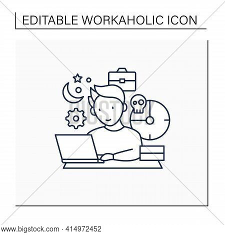 Workaholic Line Icon. Working Long Hours. Work From Morning To Night. Overworking Concept.isolated V