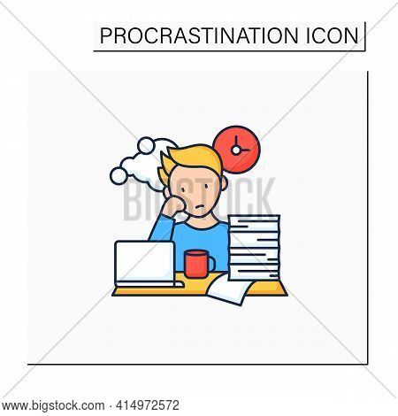 Work Procrastinating Color Icon.unnecessarily Postpone Dealing Work-related Tasks. Tired Person.over