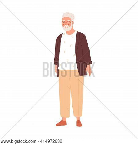 Happy Senior Gray-haired Man In Eyewear And Modern Casual Clothes. Portrait Of Smiling Aged Grandpa