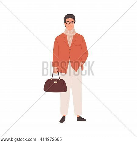 Portrait Of Happy Businessman Or Manager With Bag. Mature Office Worker In Jacket, Scarf And Eyewear