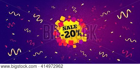 Sale 20 Percent Off Banner. Festive Confetti Background With Offer Message. Discount Sticker Shape.