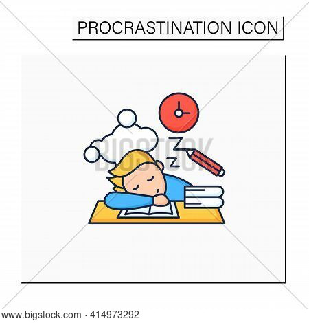 School Procrastinating Color Icon.unnecessarily Postpone Dealing Tasks. Sleep At Lesson. Tired Perso