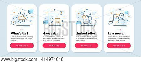 Set Of Line Icons, Such As Cloud Network, Manual Doc, Discounts Symbols. Mobile Screen Mockup Banner