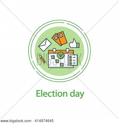 Election Day Concept Line Icon. Vote Date Calendar, Reminder. Choice, Election Concept. Democracy. P