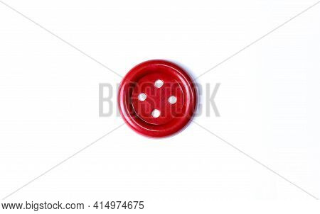 Red Button On A White Background Close-up. Beautiful Bright Isolate Button For Cutting Out. Copy Spa