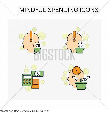 Mindful Spendings Color Icons Set. Bugeting, Conscious Consumption. Buying Fewer Concepts. Isolated