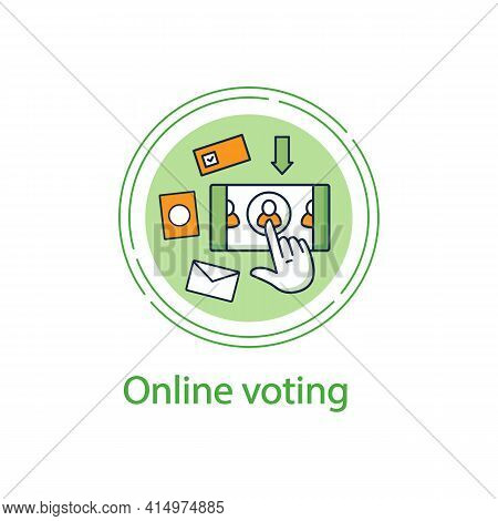 Online Voting Concept Line Icon. Voting System, Website Or Mobile App. Remote Vote. Choice, Election