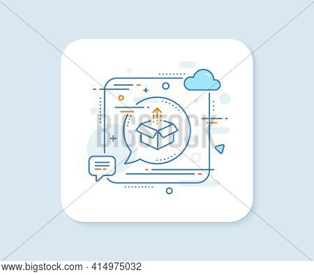 Send Box Line Icon. Abstract Square Vector Button. Open Delivery Parcel Sign. Cargo Package Symbol.