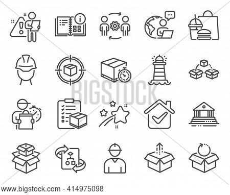 Industrial Icons Set. Included Icon As Foreman, Engineering Team, Instruction Info Signs. Delivery T