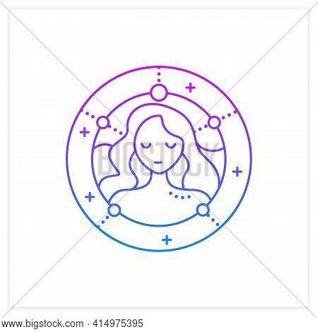 Virgo Gradient Icon. Sixth Fire Sign In Zodiac. Female Woman Birth Symbol. Mystic Horoscope Sign. As