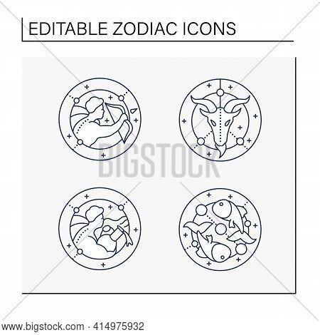Zodiac Line Icons Set. Fourth Fire Signs In Zodiac.birth Symbols.aquarius, Sagittarius, Capricorn, P