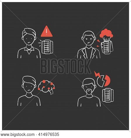 Information Overload Chalk Icons Set. Consists Of Continuous Partial Attention, Information Explosio