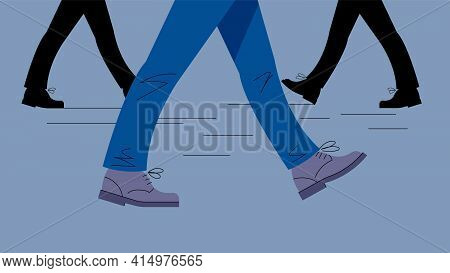 Male Legs In Motion. Legs In Trousers And Boots Take A Step. Gait. Vector Illustration Of Legs On Th