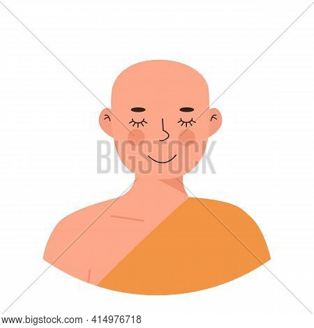Cute Peaceful Buddhist Monk In Yellow Robe Meditating With Closed Eyes. Meditation And Yoga Practici