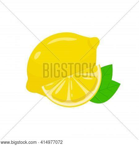 Lemons, Four Views. Fresh Natural Lemons, Whole, Half, Slice, Wedge.