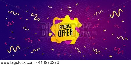 Special Offer Liquid Shape. Festive Confetti Background With Offer Message. Discount Sticker Banner.